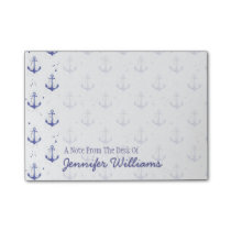 Watercolor Anchor Pattern | Add Your Name Post-it Notes