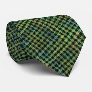 watercolor and black plaid neck tie
