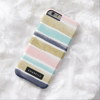 Watercolor and Faux Glitter Stripes Barely There iPhone 6 Case