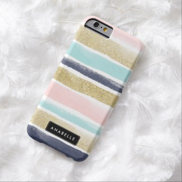 heartlocked Watercolor and Faux Glitter Stripes Barely There iPhone 6 Case