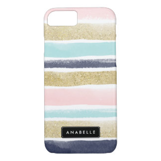 Watercolor and Faux Glitter Stripes iPhone 7 Case
