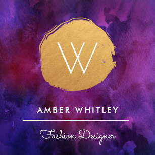 Purple and gold business cards templates zazzle watercolor and faux gold foil circle deep purple square business card colourmoves