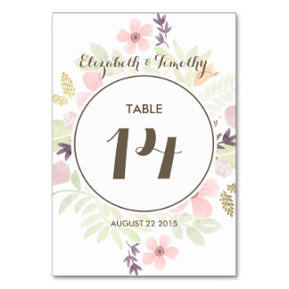 Watercolor and Gold Garden Table number Card