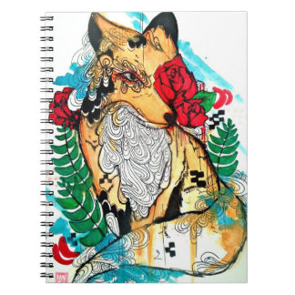 Watercolor and ink fox art, animal drawing ink art notebook
