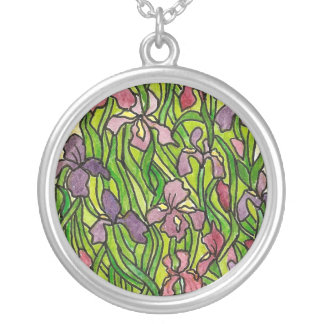 Watercolor and Ink Iris Necklace