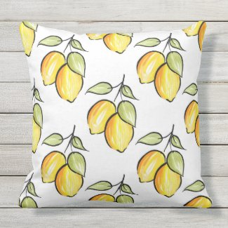 Watercolor and Ink Lemons Pattern Outdoor Pillow