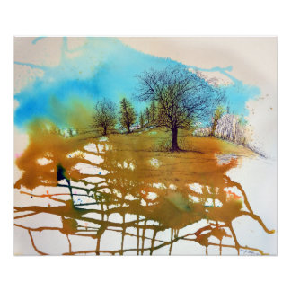 Watercolor and Ink Tree Artwork | Poster