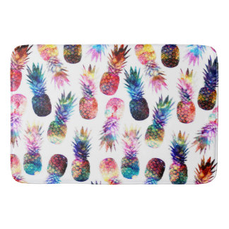 watercolor and nebula pineapples illustration bathroom mat