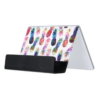 watercolor and nebula pineapples illustration desk business card holder