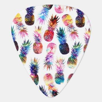 Watercolor And Nebula Pineapples Illustration Guitar Pick by InovArtS at Zazzle