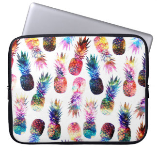 watercolor and nebula pineapples illustration laptop sleeve