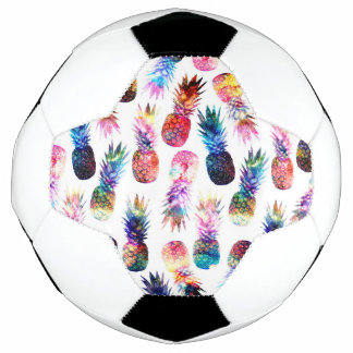 watercolor and nebula pineapples illustration soccer ball