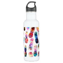 watercolor and nebula pineapples illustration stainless steel water bottle