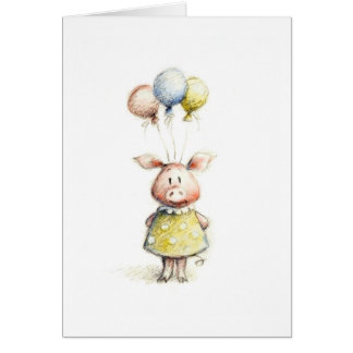 Watercolor and pencil drawing of pig with balloons card