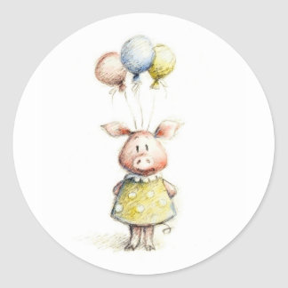 Watercolor and pencil drawing of pig with balloons classic round sticker
