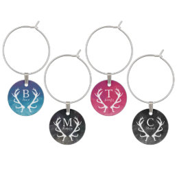Watercolor and Rustic Deer Antlers Monogram Wine Glass Charm