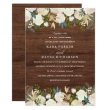 Watercolor and Wood | Rustic Floral Wedding Card
