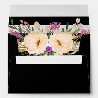 Watercolor Anemone Blooms Wedding Envelopes