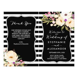 Watercolor Anemone Blooms Wedding Program