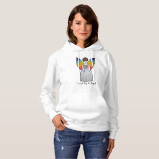 Watercolor Angel With Rainbow Wings Reading A Book Hoodie