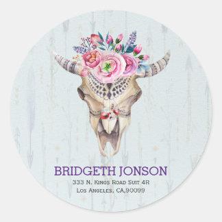 Watercolor Animal Skull Classic Round Sticker