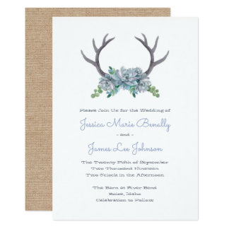 Watercolor Antlers and Echeveria Country Wedding Card