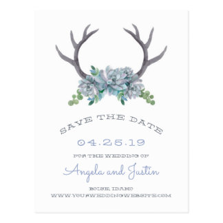 Watercolor Antlers and Echeveria Country Wedding Postcard
