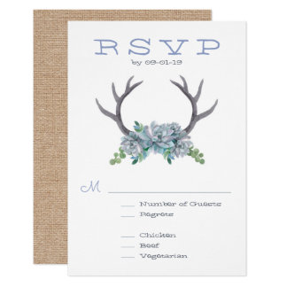 Watercolor Antlers and Echeveria Wedding RSVP Card