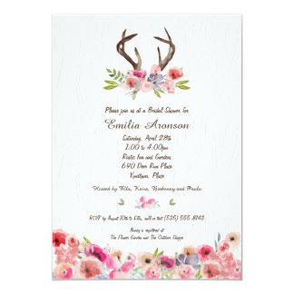 Watercolor Antlers Flowers Faux Bois Bridal Shower Card