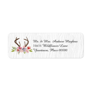 Watercolor Antlers Wildflowers Faux Bois Address Label