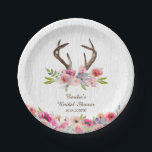 "Watercolor Antlers Wildflowers Faux Bois Shower Paper Plate<br><div class=""desc"">Express your love of the outdoors with this plate featuring deer antlers and an explosion of wildflowers rendered in a watercolor effect. The casual, woodsy look is further enhanced by a faux bois (wood pattern) background. A pile of loosely arranged wildflowers at the bottom of the menu lends a rustic,...</div>"