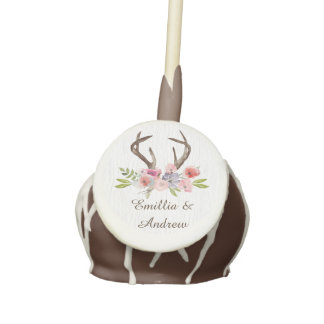 Watercolor Antlers Wildflowers Faux Bois Wedding Cake Pops