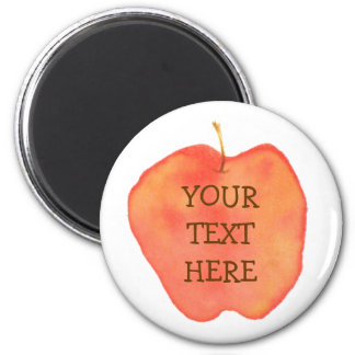 Watercolor Apple 2 Inch Round Magnet