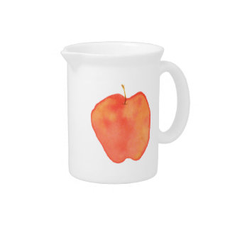 Watercolor Apple Beverage Pitcher