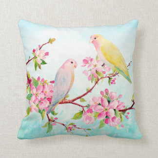 Watercolor Apple Blossoms and Love Birds Cushion Pillow
