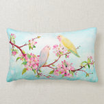 Watercolor Apple Blossoms and Love Birds Cushion Throw Pillow