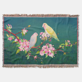 Watercolor Apple Blossoms Love Birds Throw Rug