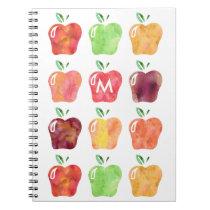 Watercolor Apple Initial Monogram Notebook