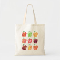 Watercolor Apple Initial Monogram Teacher Tote Bag