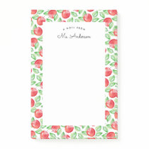 Watercolor Apple Pattern | Personalized Post-it Notes