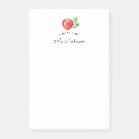 Watercolor Apple | Personalized Teacher Post-it Notes