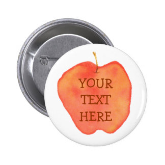 Watercolor Apple Pinback Button