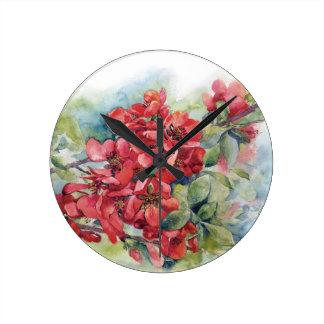 Watercolor apple quince flower flowers tree weddin round clock