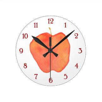 Watercolor Apple Round Clock