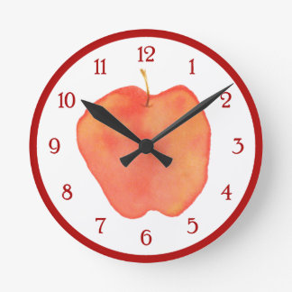 Watercolor Apple Wall Clocks