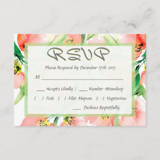 Watercolor Apricot Floral Wedding RSVP
