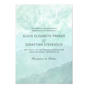 Wedding Themed Watercolor aqua blue hombre botanical wedding card