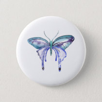 watercolor aqua blue purple butterfly button