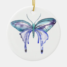 watercolor aqua blue purple butterfly ceramic ornament