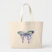 watercolor aqua blue purple butterfly large tote bag